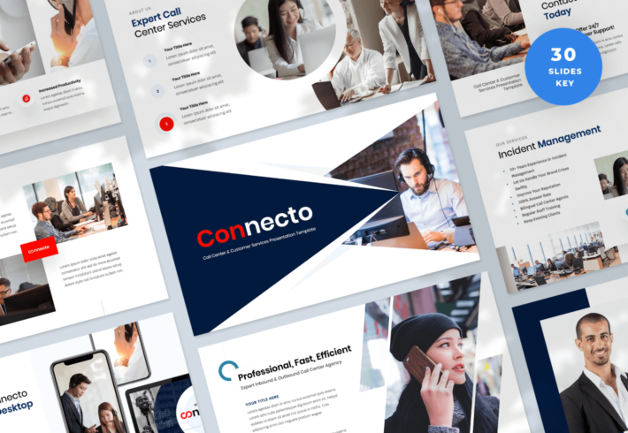 Connecto – Call Center and Customer Services Keynote Presentation Template