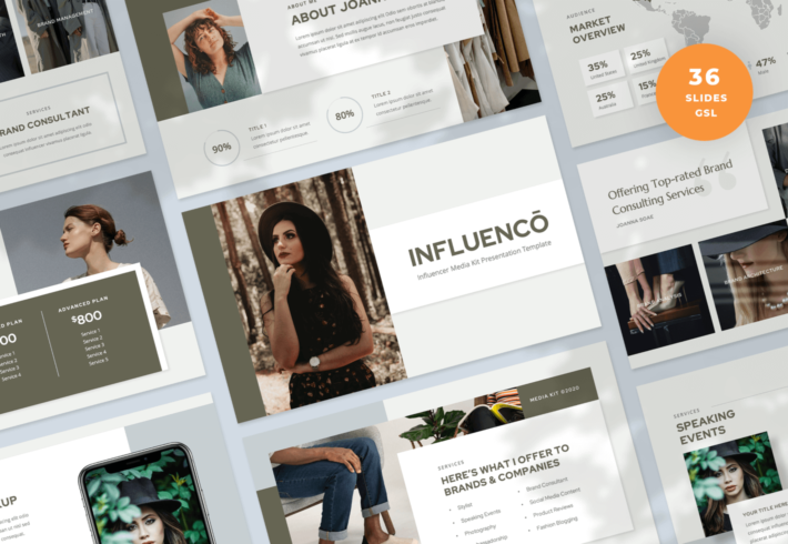Influenco – Influencer Media Kit Google Slides Presentation Template