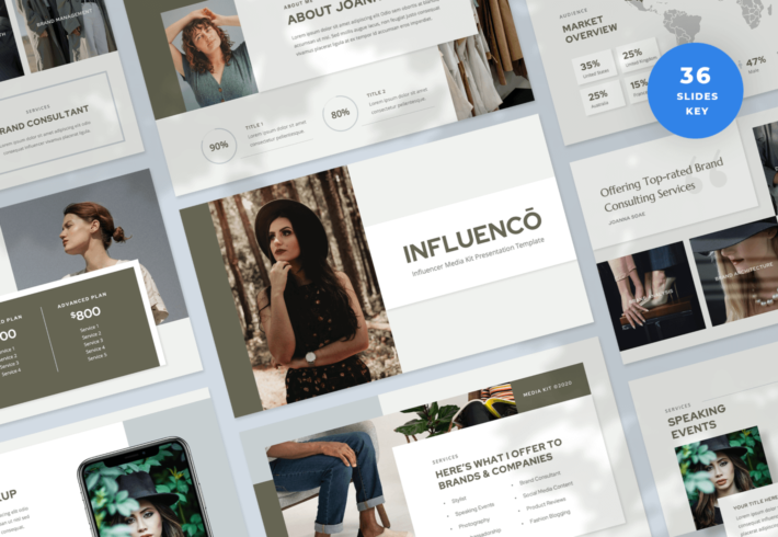 Influenco – Influencer Media Kit Keynote Presentation Template