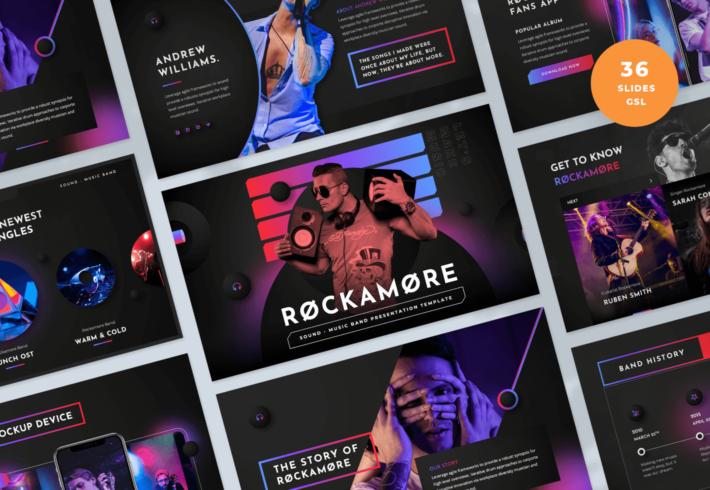 Rockamore – Music Band Google Slides Presentation Template