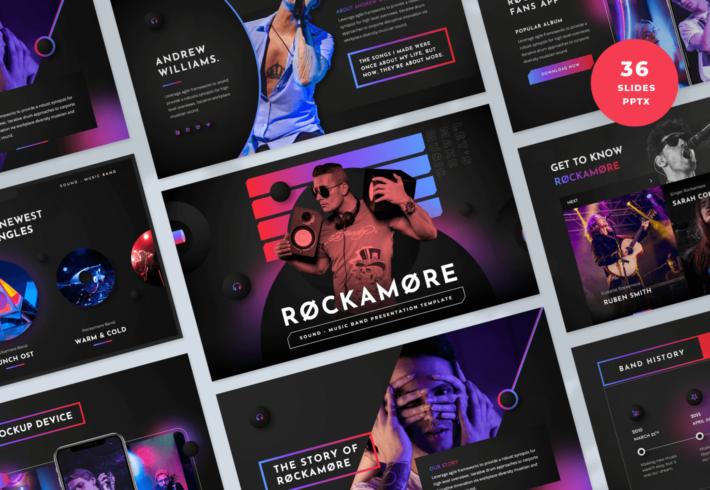 Rockamore – Music Band PowerPoint Presentation Template