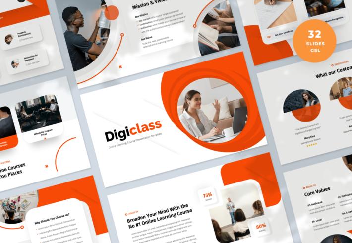 Digiclass – Online Learning Course Google Slides Presentation Template