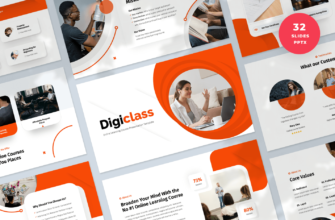 Digiclass – Online Learning Course PowerPoint Presentation Template