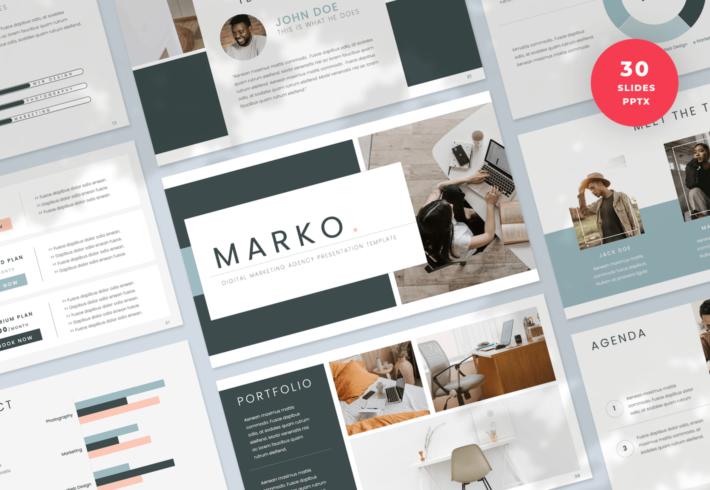 Marko – Digital Marketing Agency PowerPoint Presentation Template