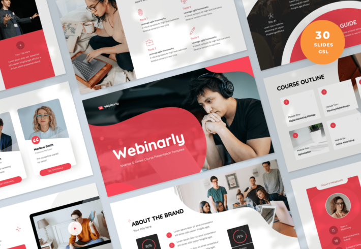 Webinarly – Webinar and eCourse Google Slides Presentation Template